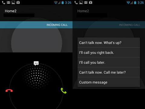 screenshot of android incoming call shortcuts