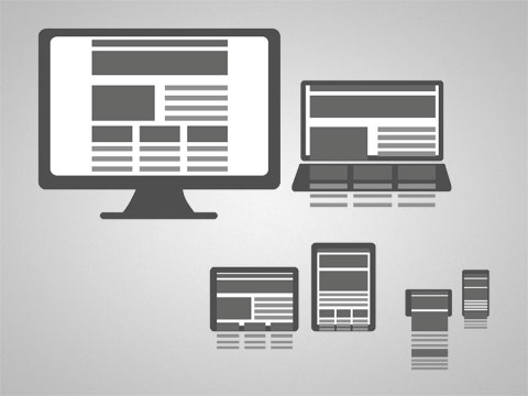 photo showing how responsive design works on a monitor, laptop, and various mobile devices