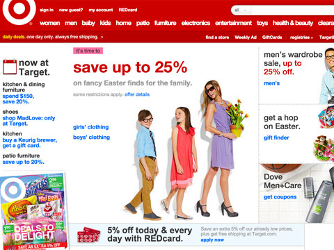 screenshot of the new target homepage