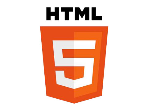 html 5 logo in black and orange