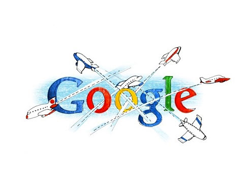 google logo with airplanes flying through it