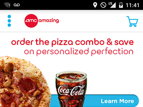 screenshot of pizza coupon in the amc mobile app