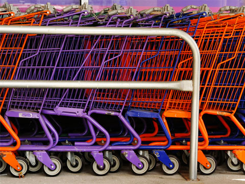 organized multicolored shopping carts