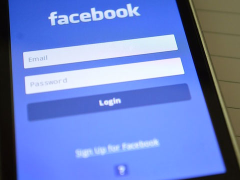 Mobile phone with facebook login screen