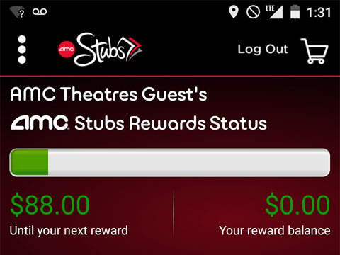 screenshot of the amc theatres app amc stubs rewards status
