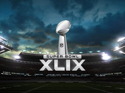 super bowl xlix logo with a stadium background
