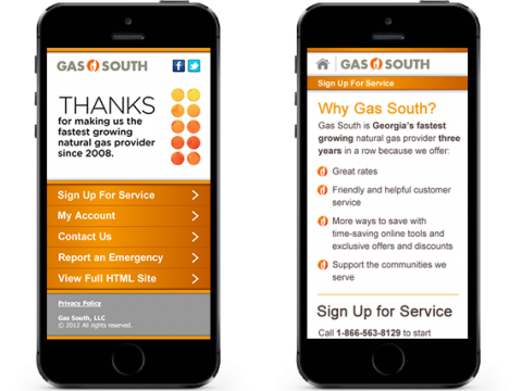 screenshots of the gas south mobile application on an iphone
