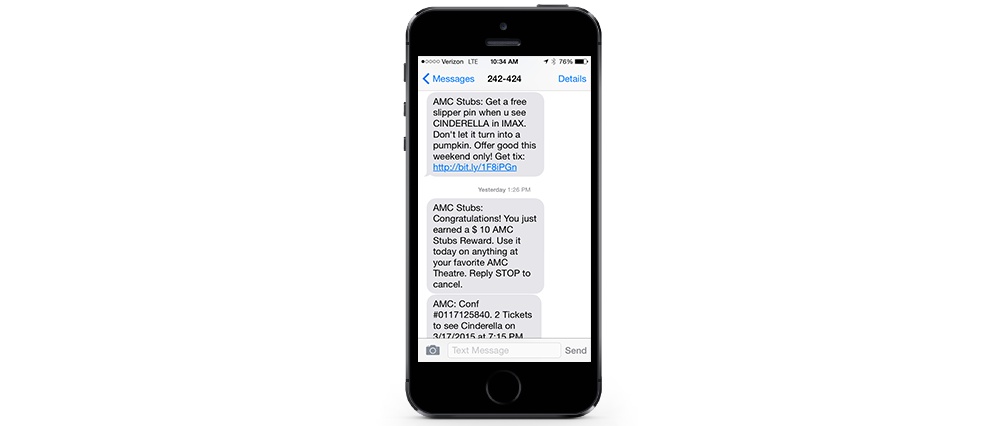 AMC Theatres Text Messaging displayed on iphone