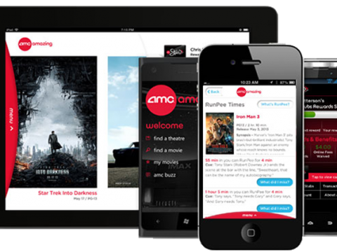 AMC Theatres app displayed on an Apple iPad, Apple iPhone, Nokia Lumia, and Android Phone