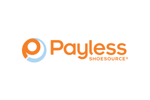 payless shoesource logo in orange and blue